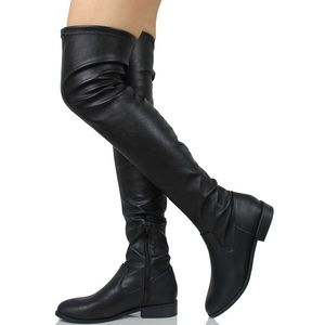 Black Faux Leather Over the Knee Low Heel boot